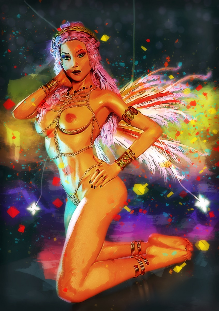 Digital painting woman artistic nude erotic art
